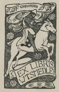 Smedley's illustrated bookplate (from Folger item PA4021 .A2 1517 Cage)